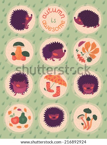 Autumn Poster With Hedgehogs - stock vector