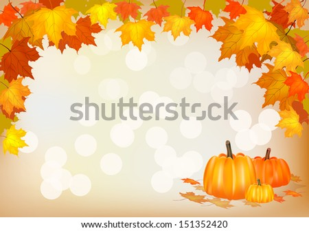 Autumn pumpkin, holiday, postcard.