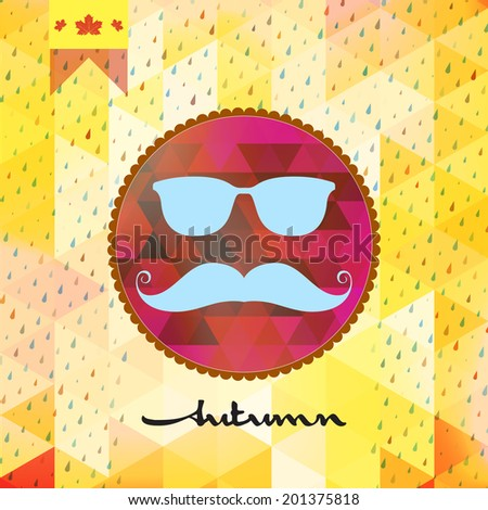 Autumn rain with hipster style Mustache and Glasses with geometric shapes. And also includes EPS 10 vector - stock vector