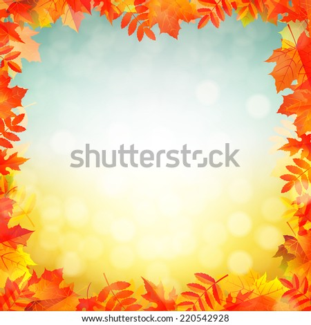 Autumn Red Leaves Border With Gradient Mesh, Vector Illustration - stock vector