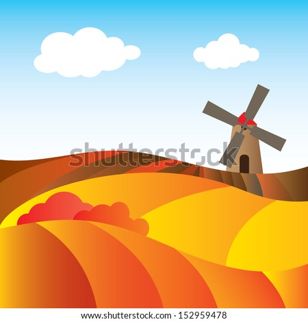 Autumn rural landscape with a mill and fields. Abstract. Vector illustration  - stock vector
