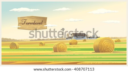 Autumn rural landscape with hay, and farm on the back plan.