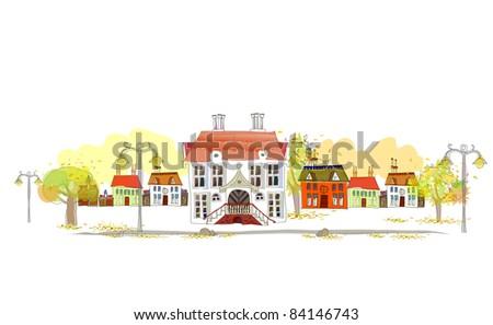 Autumn's street illustration - stock vector