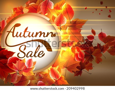 Autumn Sale background with copyspace. plus EPS10 vector file - stock vector