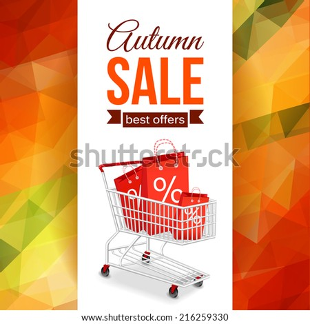 Autumn sale background with photorealistic shopping cart and place for text. Geometric design. Vector illustration. - stock vector
