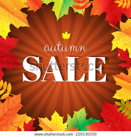 Autumn Sale Burst Poster With Leaves With Gradient Mesh, Vector Illustration - stock vector