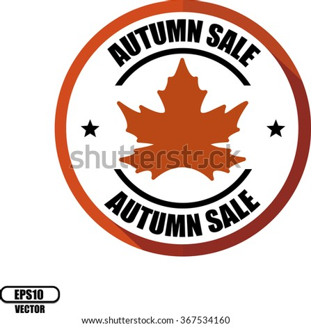 Autumn sale, Button, label and sign - Vector illustration - stock vector