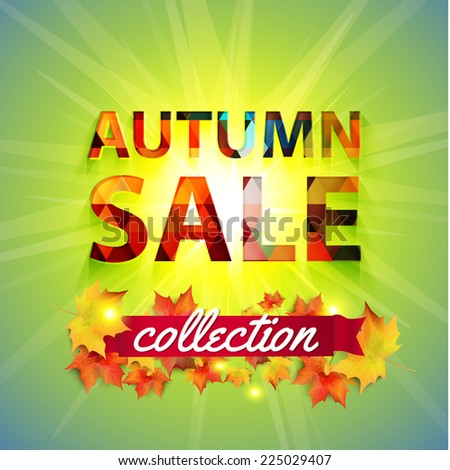 Autumn Sale collection. Vector background with sun, yellow leaves and ribbon. Text design.