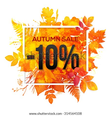 Autumn sale -10% discount vector banner with orange foliage in watercolor style - stock vector