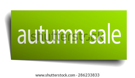 autumn sale green paper sign on white background