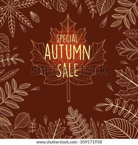 Autumn sale poster with outline leaves - stock vector