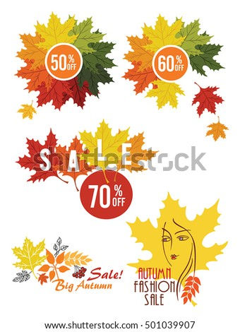 Autumn  sale vector poster with autumn leaves background, vector illustration