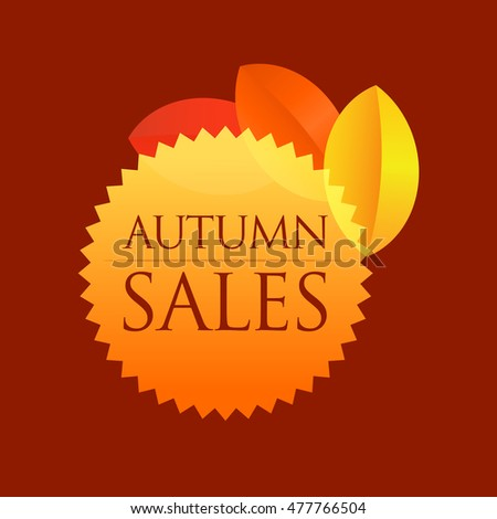 Autumn Sales - Round Vector Emblem isolated on dark red background.