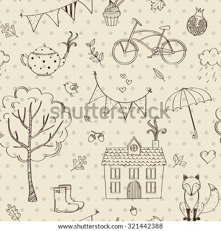 Autumn seamless background in doodle style - stock vector