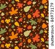 Autumn seamless background, vector illustration. - stock vector