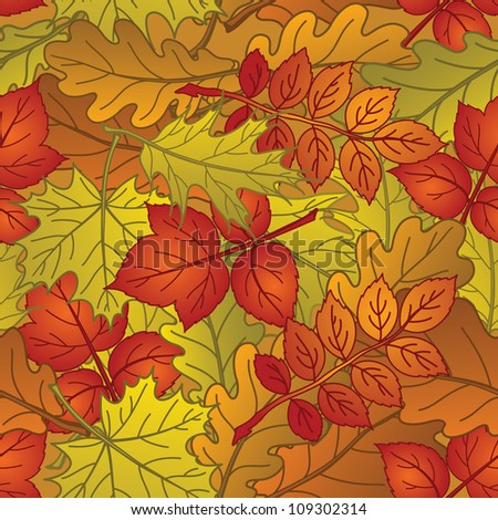 Autumn seamless nature background with leaves of different plants, red, orange and yellow. Vector