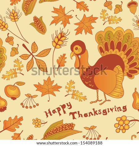 Autumn Seamless of fruits and vegetable in cornucopia with turkey for Thanksgiving - stock vector
