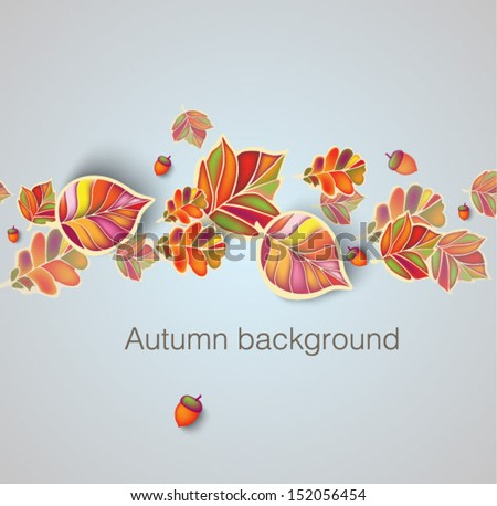 Autumn seamless ornament with leaves and acorns - stock vector