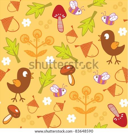 autumn seamless pattern - stock vector