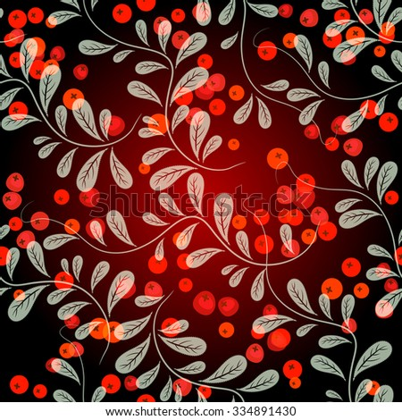 Autumn seamless pattern with leaves and berries on a dark red background (vector, eps 10) - stock vector