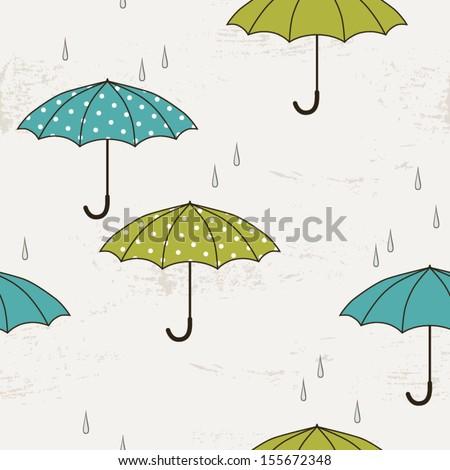 Autumn seamless pattern with umbrellas - stock vector