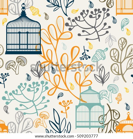 Autumn seamless pattern with vintage birdcages. Elements design of leaf
