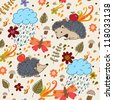Autumn seamless texture with hedgehogs.Seamless pattern can be used for wallpaper, pattern fills, web page background,surface textures. - stock vector