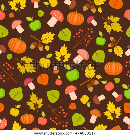 autumn seamless texture with pumpkins, leaves, mushrooms and apples