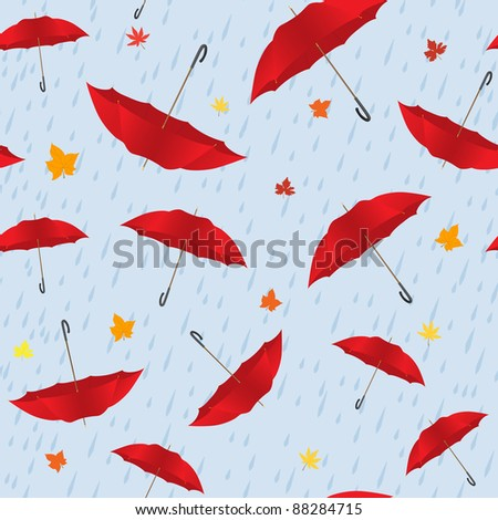 Autumn seamless with some umbrellas and leaves - stock vector