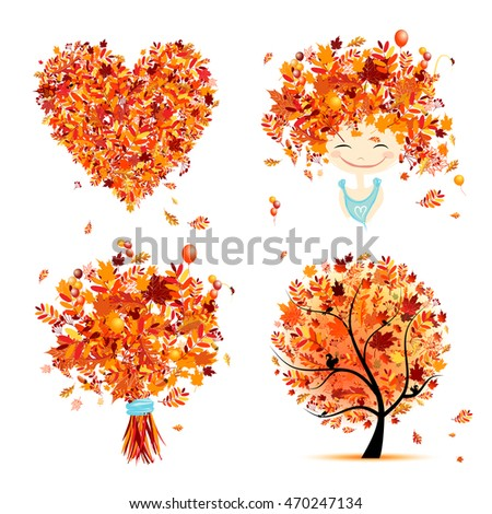 Autumn set for your design: girl, bouquet, tree, heart