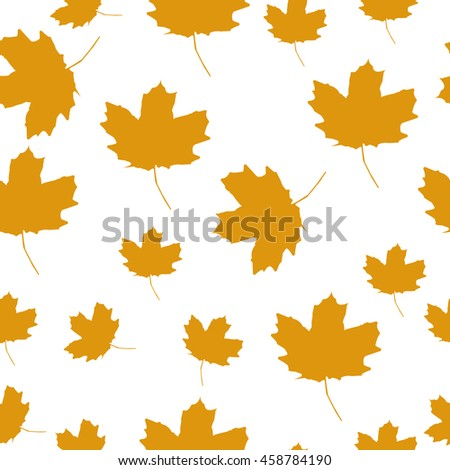 Autumn Set of Orange Maple Leaves on White Background, Vector Version. seamless texture - stock vector