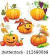 Autumn still life with pumpkins - stock vector