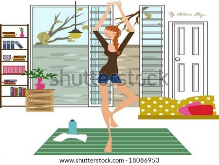 Autumn Story - a pretty woman practice yoga with a water bottle and a white towel on white background with an seasonal scene through an open window and a inside view of cute room : vector illustration - stock vector