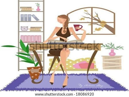 Autumn Story - a pretty woman relax a house with a cup of coffee and an entertaining reading on white background with a view through an open window and decorating cute furniture : vector illustration - stock vector