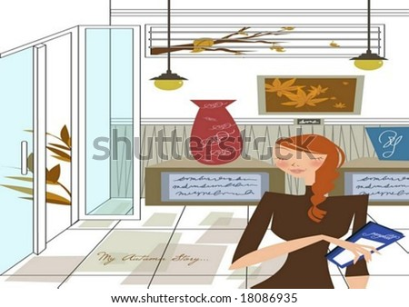 Autumn Story - a pretty woman visit a museum with a blue pamphlet in the craft exhibition on white background with beautiful articles and art wall : vector illustration - stock vector