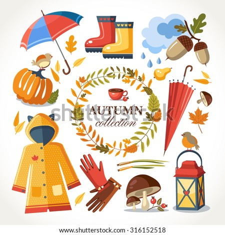 autumn symbols collection - stock vector