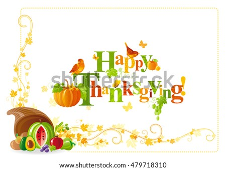 Autumn Thanksgiving Vector Background Text Lettering Stock Vector ...
