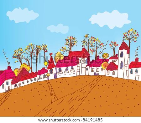 Autumn town sketch cartoon - stock vector