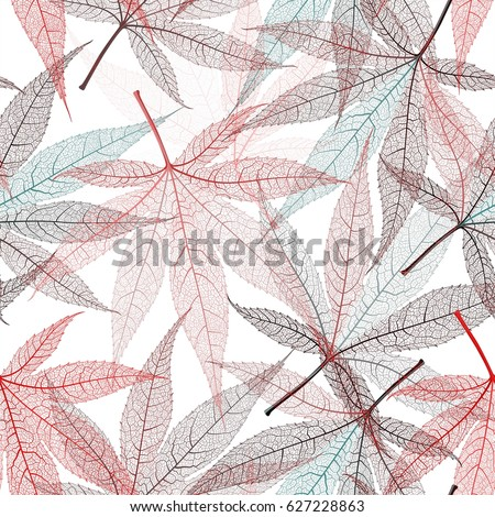 Autumn transparent maple leaves pattern background. Red art vector realistic leaves pattern. Fabric texture.