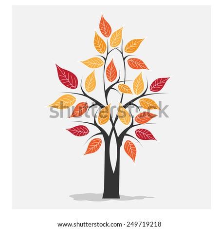 Autumn Tree Icon vector - stock vector