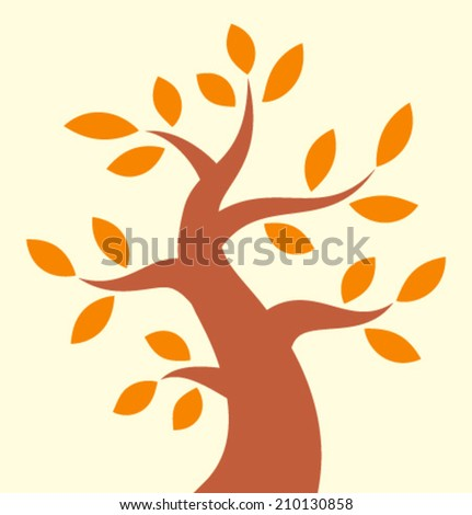 Autumn Tree icon, vector logo, illustration - stock vector