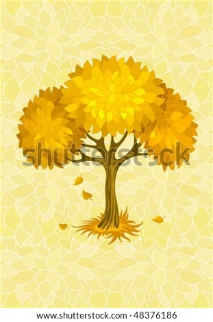 autumn tree on yellow background with ornament vector illustration - stock vector