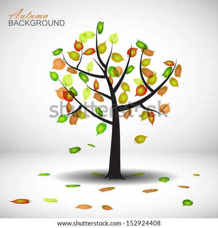 autumn tree vector background with leaves  - stock vector