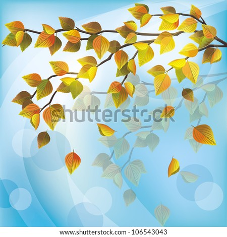 Autumn tree with yellow flying leaves, light nature background, place for text. Vector illustration.