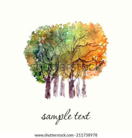 Autumn trees. - stock vector