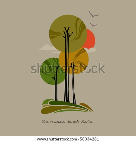 Autumn trees - stock vector