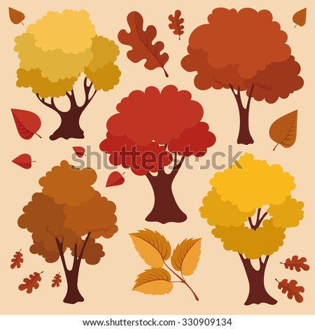 Autumn Trees and Leaves Vector Set