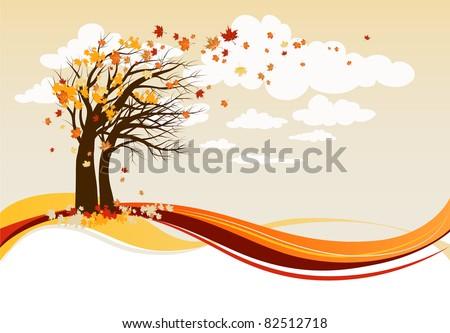 Autumn trees background - stock vector