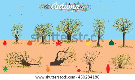 Autumn trees bright foliage. Vector illustration - stock vector