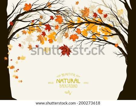 Autumn trees with deciduous leaves. Frame with space for text - stock vector